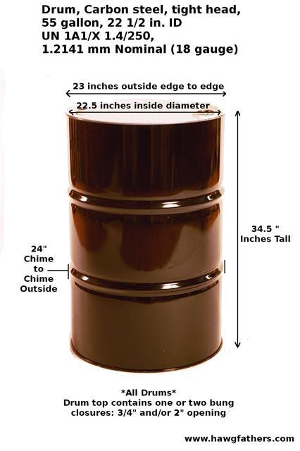 55 gallon drum dimensions